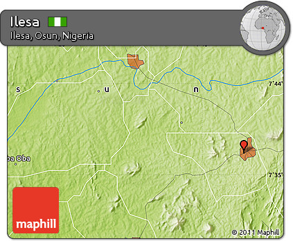 Free Physical Map Of Ilesa - Ilesa map