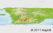 """Physical Panoramic Map of the area around 7°30'57""""N,80°40'30""""W"""