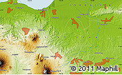 """Physical Map of the area around 7°10'2""""S,110°34'29""""E"""