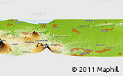 """Physical Panoramic Map of the area around 7°10'2""""S,110°34'29""""E"""