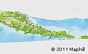 """Physical Panoramic Map of the area around 7°10'2""""S,157°19'29""""E"""