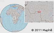 Gray Location Map of Tumba, hill shading