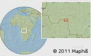 """Savanna Style Location Map of the area around 7°10'2""""S,21°19'30""""E, hill shading"""