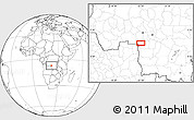 """Blank Location Map of the area around 7°10'2""""S,22°10'29""""E"""