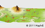 """Physical Panoramic Map of the area around 7°41'23""""S,110°34'29""""E"""