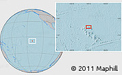 """Gray Location Map of the area around 7°41'23""""S,140°10'30""""W, hill shading"""