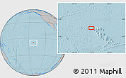 """Gray Location Map of the area around 7°41'23""""S,141°52'30""""W, hill shading"""