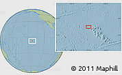 """Savanna Style Location Map of the area around 7°41'23""""S,141°52'30""""W, hill shading"""