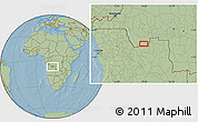 """Savanna Style Location Map of the area around 7°41'23""""S,18°46'29""""E, hill shading"""