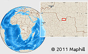 """Shaded Relief Location Map of the area around 7°41'23""""S,18°46'29""""E"""
