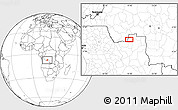 """Blank Location Map of the area around 7°41'23""""S,19°37'30""""E"""