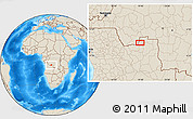 """Shaded Relief Location Map of the area around 7°41'23""""S,19°37'30""""E"""