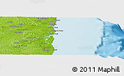 """Physical Panoramic Map of the area around 7°41'23""""S,34°46'29""""W"""