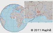 Gray Location Map of Ekpaogan, hill shading