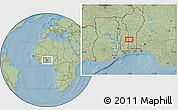 Savanna Style Location Map of Ekpaogan, hill shading