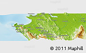 """Physical Panoramic Map of the area around 8°2'17""""N,78°7'30""""W"""
