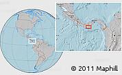 Gray Location Map of Pocrí, hill shading