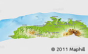 """Physical Panoramic Map of the area around 8°33'36""""N,123°19'29""""E"""