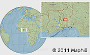 """Savanna Style Location Map of the area around 8°33'36""""N,1°46'29""""E, hill shading"""