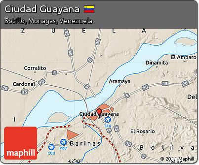 Free Shaded Relief Map of Ciudad Guayana