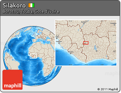 Free Shaded Relief Location Map of Silakoro