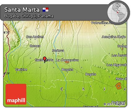 Free Physical Map of Santa Marta