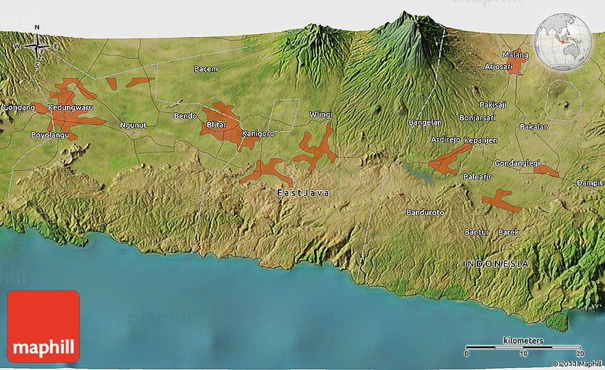 Satellite 3D Map of Malang
