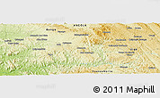 """Physical Panoramic Map of the area around 8°12'42""""S,14°31'30""""E"""