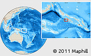 """Shaded Relief Location Map of the area around 8°12'42""""S,156°28'29""""E"""