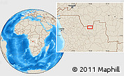 """Shaded Relief Location Map of the area around 8°12'42""""S,18°46'29""""E"""