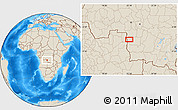 """Shaded Relief Location Map of the area around 8°12'42""""S,22°10'29""""E"""