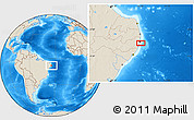 """Shaded Relief Location Map of the area around 8°12'42""""S,34°46'29""""W"""