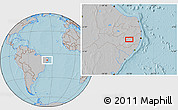 """Gray Location Map of the area around 8°12'42""""S,36°28'30""""W, hill shading"""