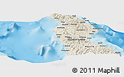 """Shaded Relief Panoramic Map of the area around 8°44'0""""S,160°43'29""""E"""