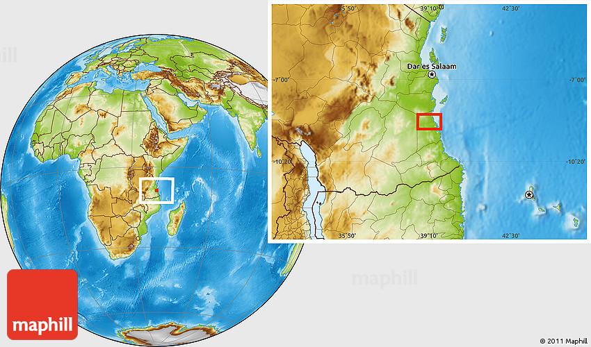 Physical Location Map Of Kilwa Kisiwani
