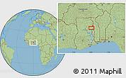 "Savanna Style Location Map of the area around 9°4'52""N,0°4'30""E"