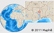 """Shaded Relief Location Map of the area around 9°4'52""""N,0°4'30""""E"""