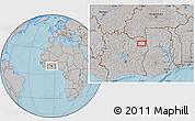 Gray Location Map of Bouna, hill shading