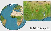 Satellite Location Map of Bouna