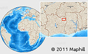 Shaded Relief Location Map of Bouna