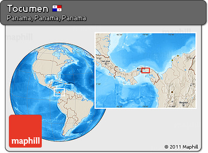 Shaded Relief Location Map of Tocumen