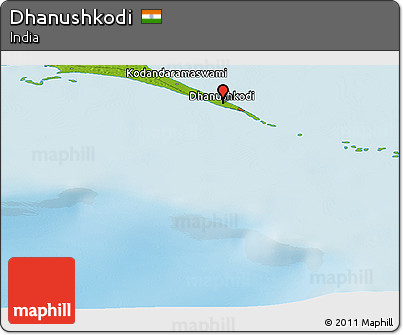 Free Physical Panoramic Map of Dhanushkodi