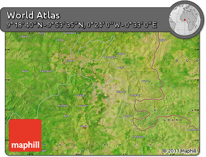 "Satellite Map of the Area around 9°36'8""N,0°4'30""E"