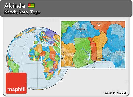 Political Location Map of Akinda