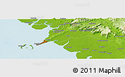 """Physical Panoramic Map of the area around 9°36'8""""N,13°31'30""""W"""