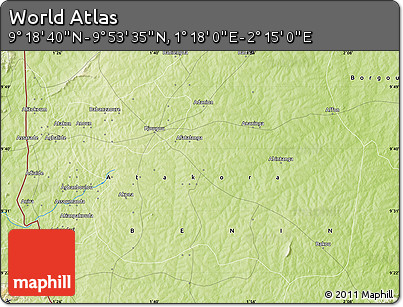 """Physical Map of the Area around 9°36'8""""N,1°46'29""""E"""