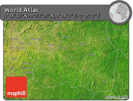 "Satellite Map of the Area around 9°36'8""N,1°46'29""E"