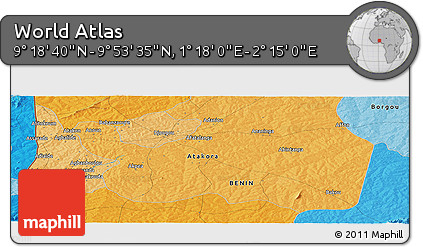 """Political Panoramic Map of the Area around 9°36'8""""N,1°46'29""""E"""