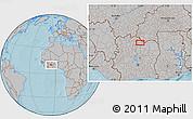 Gray Location Map of Ferkessédougou, hill shading