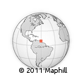 """Outline Map of the Area around 9° 36' 8"""" N, 60° 16' 29"""" W, rectangular outline"""